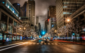 Michigan, street, night, lights