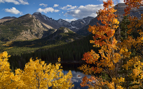 lake, Mountains, trees, autumn