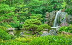 The Japanese Garden, park, garden, landscape, waterfall