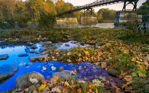 autumn, river, bridge, trees, landscape