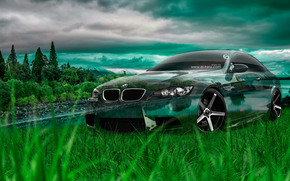 Tony Kokhan, BMW, M3, E92, Kristall, Natur, Auto, grün, Gras, el Tony Autos, photoshop, art, HD Hintergrundbilder, Tony Cohan, Photoshop, BMW, M3, Emka, E92, Transparent, Maschine, transparent, Auto, Natur, GREEN, Gras, wallpaper, Kunst, Steele