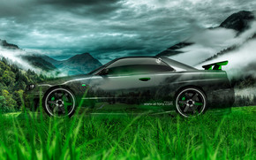 Tony Kokhan, Nissan, Skyline, GTR, R34, Side, Crystal, car, nature, green, grass, el Tony Cars, photoshop, HD wallpapers, Tony Cohan, Photoshop, style, Transparent, machine, Nissan, skyline, GAD, P34, Side view, nature, GREEN, Tr