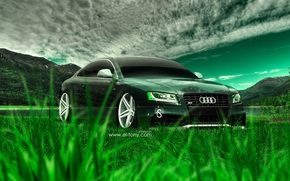 S5, Crystal, Audi, Car, Tony Kokhan, Nature, Tuning, Green, Grass, Style, Photoshop, el Tony Cars, Тони Кохан, Фотошоп, Ауди, эС Пять, Прозрачная, Стиль, Природа, Зеленая, Трава, Тюнинг, Обои