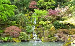estanque, cascada, piedras, árboles, jardín, Jardín Japonés