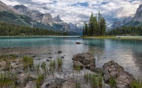 Maligne Lake, Jasper National Park, Góry, jezioro, drzew, krajobraz