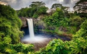 водопад, скалы, деревья, природа