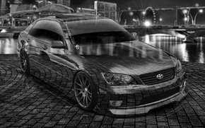 Tony Kokhan, Toyota, Altezza, JDM, el Tony Cars, Crystal, city, car, 2014, photoshop, HD wallpapers, design, Tony Cohan, Toyota, Alteza, Transparent, city, Photoshop, night, wallpaper, Black & White