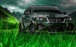 Tony Kokhan, BMW, X5, Crystal, nature, green, grass, el Tony Cars, Jeep, Crossover, photoshop, art, HD wallpapers, Tony Cohan, Photoshop, BMW, X 5, X5, Transparent, machine, nature, grass, GREEN, Mountains, wallpaper, Art, 2014