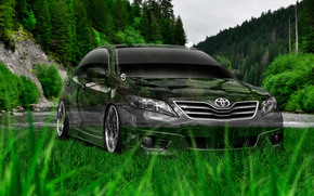 Tony Kokhan, Toyota, Camry, Crystal, nature, green, grass, photoshop, style, el Tony Cars, HD wallpapers, Tony Cohan, Photoshop, design, Toyota, Camry, Transparent, nature, GREEN, grass, wallpaper, 2014