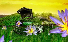 Tony Kokhan, Lexus, LS460, Cristallo, natura, stile, verde, erba, fiori, Aprire, fantasia, photoshop, el Tony Auto, Tony Cohan, Photoshop, stile, Lexus, trasparente, Trasparente, natura, erba, GREEN, Fiori, carta da parati