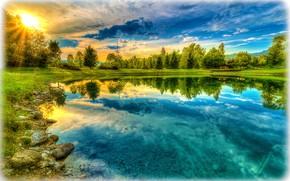 закат, озеро, деревья, домик, небо, пейзаж