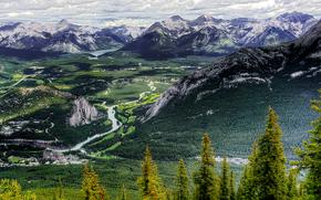 Banff national Park, Canada, горы, деревья, вид с верху, пейзаж