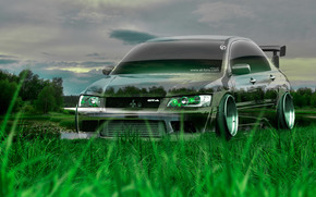 Tony Kokhan, Mitsubishi, lancer, Evolution, Crystal, nature, green, grass, JDM, tuning, el Tony Cars, photoshop, HD wallpapers, art, design, Tony Cohan, Photoshop, Mitsubishi, Lancer, Evolution, Transparent, machine, transparent, Car, Art