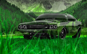 Tony Kokhan, dodge, Challenger, RS, 1970, Crystal, nature, car, green, grass, HD wallpapers, el Tony Cars, photoshop, art, design, muscle, Tony Cohan, Photoshop, Dodge, Chalendzher, Challenger, Transparent, machine, transparent, Car, Seele