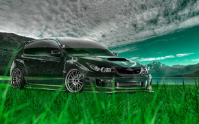 Tony Kokhan, Subaru, Impreza, WRX, STI, JDM, Crystal, nature, green, grass, el Tony Cars, photoshop, art, design, HD wallpapers, Tony Cohan, Photoshop, Subaru, Impreza, STI, Transparent, machine, transparent, Car, nature, GREEN, T