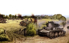 Art, Tanks, war, battle, Flavion, France, May 15, 1940, PzKpfw 38 (t)