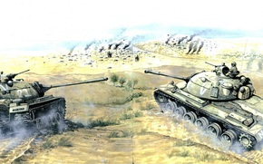 Art, Tanks, The Six Day War, Pass Jerad, June 1967, M48, IS-3, Israel