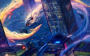city, Dragons, 3d, art