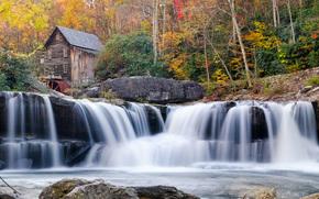 Glade Creek Grist Mill, Babcock State Park, autunno, cascata, mulino ad acqua, paesaggio