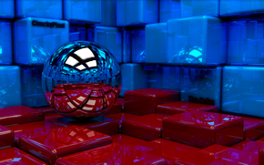 ball, cubes, 3d, art