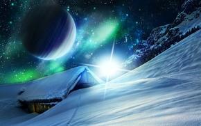 планета, космос, 3d, art