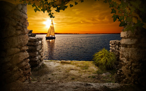 tramonto, pesce vela, arco