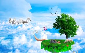 Cavalos, céu, Sabaki, ilha voadora, arte