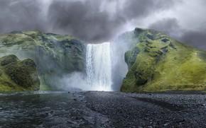 cascade, petite rivière, Rocks, NUAGES, paysage