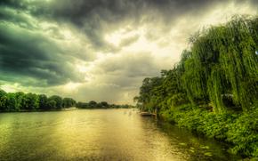 river, CLOUDS, trees, landscape