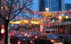 Сингапур, улица, вечер, праздник, Новый год, чайнатаун