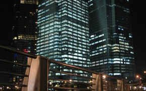 Сингапур, вечер, набережная, небоскреб, здания, город, ночь, свет