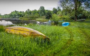 озеро, берег, лодки, пейзаж