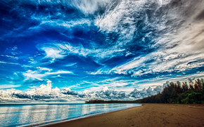 sea, shore, beautiful sky, landscape