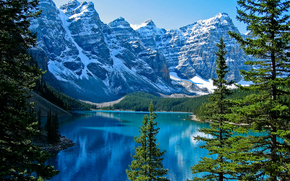 Moraine, Banff National Park, Canada, lake, trees, landscape