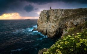 Pointe de Pen Hir, tramonto, mare, Rocce, puntellare, paesaggio