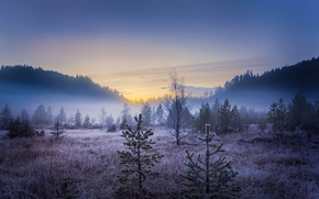 landscape, autumn, Mountains, fog, rime, morning, DAWN, Norway