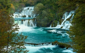 autumn, waterfalls, trees, landscape, croatia