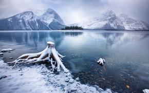 пейзаж, зима, снег, горы, озеро, озеро Кананаскис, Альберта, Канада