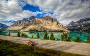 Lago Bow, carretera, lago, Montañas, paisaje