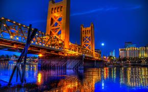 Puente de la torre de noche, Sacramento, California, Tower Bridge de noche, Sacramento, California
