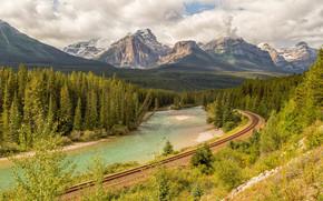 Bow river, Canada, Mountains, river, IRON, road, autumn, landscape