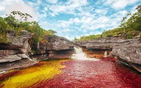 cascada, Rocas, río, paisaje