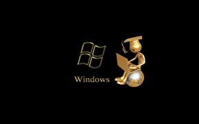notebook, globe, windows, sitting, master, man