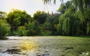 nature, swamp, Rozhishche, Ukraine, Volyn region, summer, greens, drawing, Picture Picture, design studio good luck, Mukhortov Michael jc-mike, capricornus