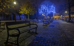 улица, ночь, лавочки, мост, фонари, Великобритания