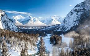 горы, зима, река, Banff, Canada