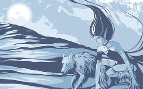 vecteur, fille, loup, bleu