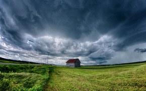 дорога, тучи, поле, домик, пейзаж