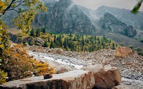 Kirghizistan, Bishkek, alpinismo, natura, Montagne, Rocce, ghiacciai, gelato, canyon, Ala-Archa, salire, base, Razek, fiume di montagna, disegno, acquerello, Michael Mukhortov, jc-mike, studio di design buona fortuna, Capricorno