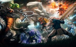 dota_2, swords, fighters, girl, heroes, monsters